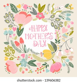 "Beautiful greeting card ""Happy mother's day"". Bright illustration, can be used as creating card,invitation card for wedding,birthday and other holiday and cute summer background."