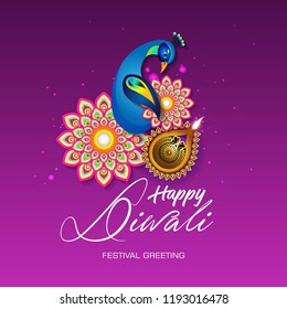 Beautiful greeting card for Hindu community festival Diwali,Diwali festival holiday design with Peacock design