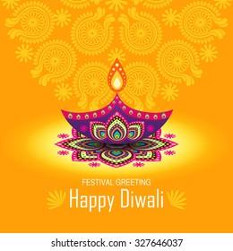 Beautiful greeting card for Hindu community festival Diwali / Happy Diwali festival background illustration / Diwali graphic design for Diwali festival celebration in India