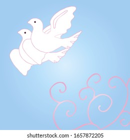 Beautiful greeting card or invitation card for the holiday. A pair of white doves are flying in the blue sky. Wedding design.