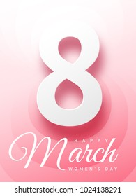 Beautiful greeting card on March 8 Happy Woman's Day in pink color