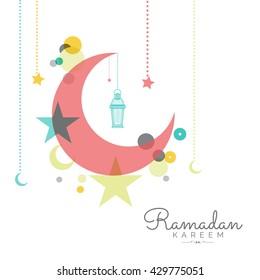 A beautiful greeting card of ramdan mubarak.