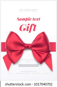 Beautiful greeting card with red bow on white background. Valentine's day card. Vector illustration