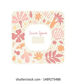 beautiful greeting card template with floral design elements forming frame