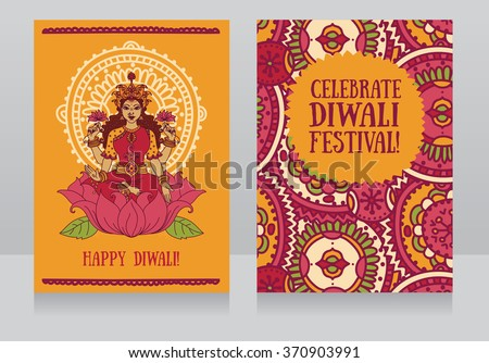 Beautiful greeting cards diwali festival indian stock vector beautiful greeting cards for diwali festival with indian goddess lakshmi and colorful ornament vector illustration m4hsunfo