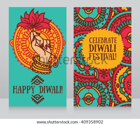 Beautiful greeting cards diwali festival indian stock vector beautiful greeting cards for diwali festival with indian gods hand and lotus vector illustration m4hsunfo
