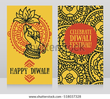 Beautiful Greeting Cards For Diwali Festival With Indian Gods Hand And Lotus Vector Illustration