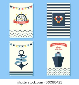 Beautiful greeting cards. Made in sea theme style. Can be used for Valentines cards or Travel postcards.
