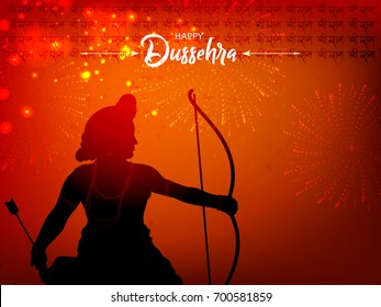 Beautiful greeting design for Happy Dussehra on decorative background.