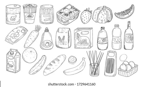beautiful grocery items freehand sketch drawing style in black and white color set. Instant noodle cup, corn flake box, can food, wine bottle, snack,  fruit, vegetable .
