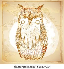 Beautiful grunge batik background of patterned owl