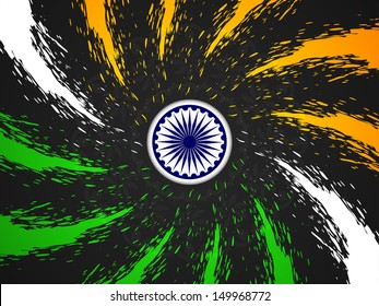 beautiful grungy Indian flag theme design on black color background.