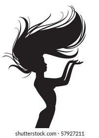 beautiful hair silhouette