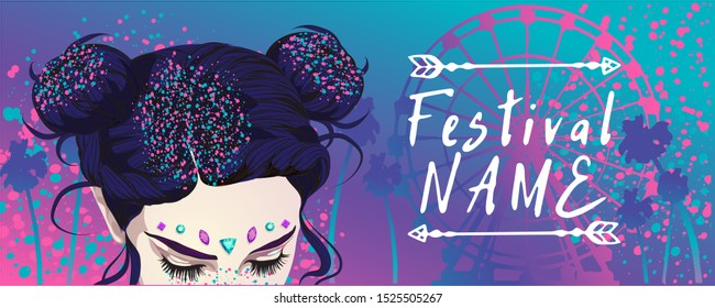 beautiful hairstyle with sparkles for the festival for a beautiful girl with a bright make-up, The most popular hairstyles COACHELLA Sequins for hair,