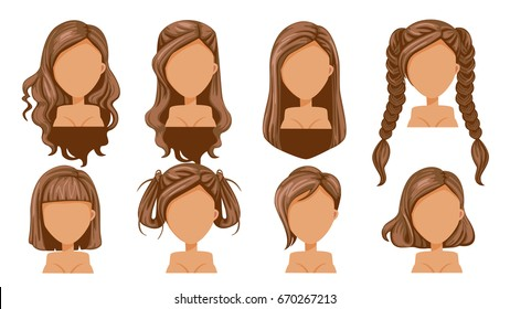 Beautiful  hairstyle woman  modern fashion for assortment. long hair, short hair, curly hair salon hairstyles and trendy haircut vector icon set isolated on white background.