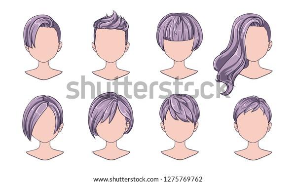 Beautiful Hairstyle Woman Modern Fashion Assortment Stock Vector ...