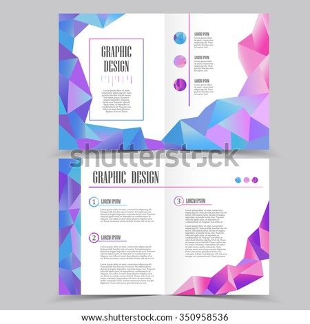 Beautiful Halffold Brochure Template Design Crystal Stock Vector