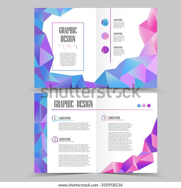 beautiful half-fold brochure template design with crystal elements