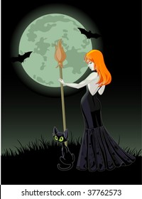 Beautiful Halloween witch holding a broom. Full moon in  background. All objects on separate layers