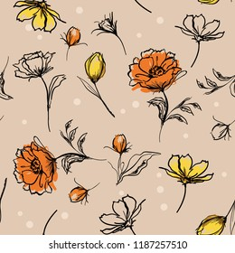 Beautiful Hand brush strokes line of botanical flowers sketch style. Vector seamless pattern illustration design for fashion,fabric ,and all prints on light beige background color