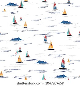 Beautiful Hand drawing colorful wind surf seamless pattern in vector. Flat style illustration. Summer beach surfing illustration in the ocean on white  background.