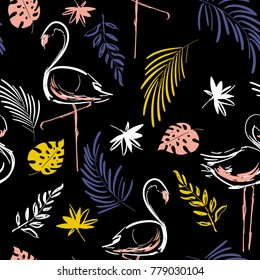 Beautiful hand drawing contrast tropical motif vector flamingo bird,leaves,tropical leaves,pattern on black background.