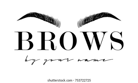 Beautiful hand drawing eyebrows for the logo of the master on the eyebrows. Business card template.