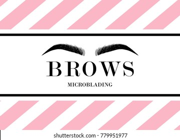 Beautiful hand drawing eyebrows for the logo of the master on the eyebrows and microblading master. Business card template. Modern card on striped pink and white background
