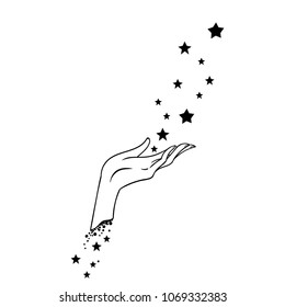 Beautiful hand drawing hand is holding stars. Vector illustration  isolated. Tattoo design, mystic magic symbol for your use.