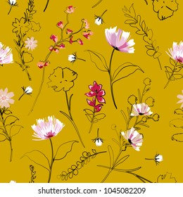 Beautiful hand drawing outline sketch with paintting florals seamless pattern in vector on stylish vintage yellow color background for fashion and all prints
