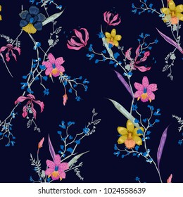 Beautiful hand drawing seamless pattern Blooming drawing florals background for textile decor and design. botanical wallpaper on navy blue with colorful flowers.