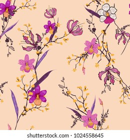 Beautiful hand drawing seamless pattern Blooming drawing florals background for textile decor and design. botanical wallpaper on peach light pink color with colorful flowers.