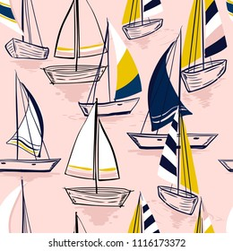 Beautiful Hand drawing  sketch Seamless summer sea pattern with sailing ships on sweet pink  background. Nautical pattern vector