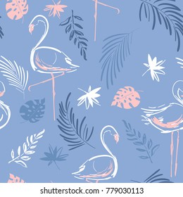 Beautiful hand drawing tropical motif vector flamingo bird,leaves,tropical leaves,pattern on pastale blue background.