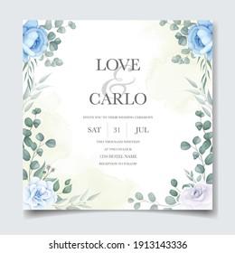 Beautiful hand drawing wedding invitation blue floral design