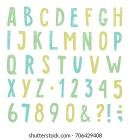 Beautiful hand drawn alphabet. Letters, numbers and symbols. Vector illustration