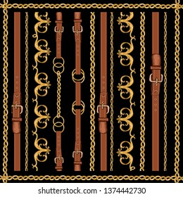 Beautiful hand drawn Baroque striped vector pattern illustration with golden ribbons and chains, belts. Abstract Vintage patch for scarfs, print, fabric.