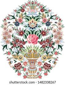 Beautiful hand drawn big floral vase