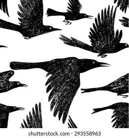 beautiful hand drawn black birds flying seamless vector pattern