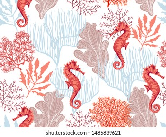 Beautiful hand drawn botanical vector seamless pattern illustration with tropical corals sea horse Isolated on white background.
