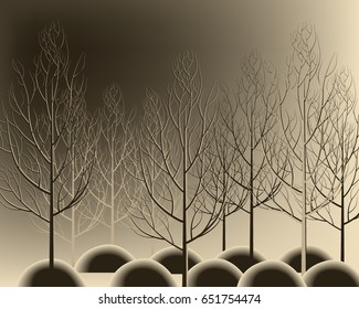 Beautiful hand drawn branches forest without leaves. Nice autumn tree.