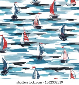 Beautiful Hand drawn brush summer boat,ship in the ocean seamless pattern vector ,Design for fashion,fabric,wrapping,wallpaper,web and all prints