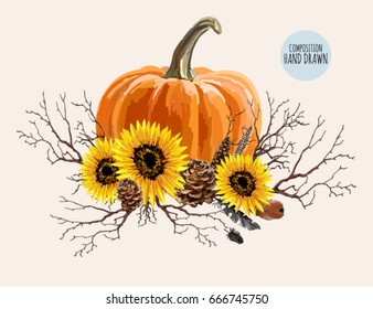 Beautiful hand drawn composition with  sunflowers, pumpkin, feathers and fall branches. Isolated on white background.
