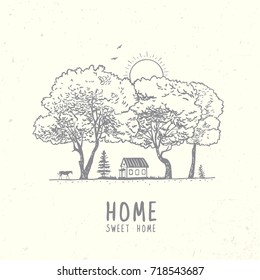 Beautiful hand drawn doodle with view on home and amazing trees. Vector illustration, sketch.