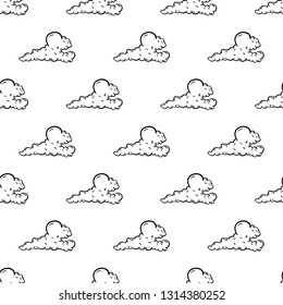 Beautiful hand drawn fashion seamless pattern cloud icon. Hand drawn black sketch.  Isolated on white background. Flat design. Vector illustration.