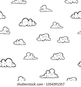 Beautiful hand drawn fashion seamless pattern cloud icon. Hand drawn black sketch. Sign / symbol / doodle. Isolated on white background. Flat design. Vector illustration.