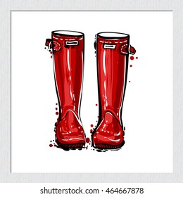 Beautiful hand drawn fashion vector illustration: red hunter wellies. Trendy style graphic sketch. Isolated art element on white background.