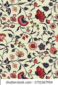 beautiful hand drawn floral background pattern