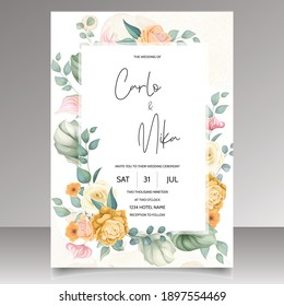 Beautiful hand drawn floral wedding invitation card template