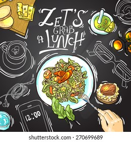 Beautiful hand drawn illustration business lunch top view